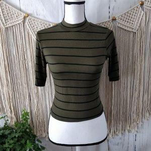 NWT Olivia Rae Green Stripe Mock Neck Crop Top S